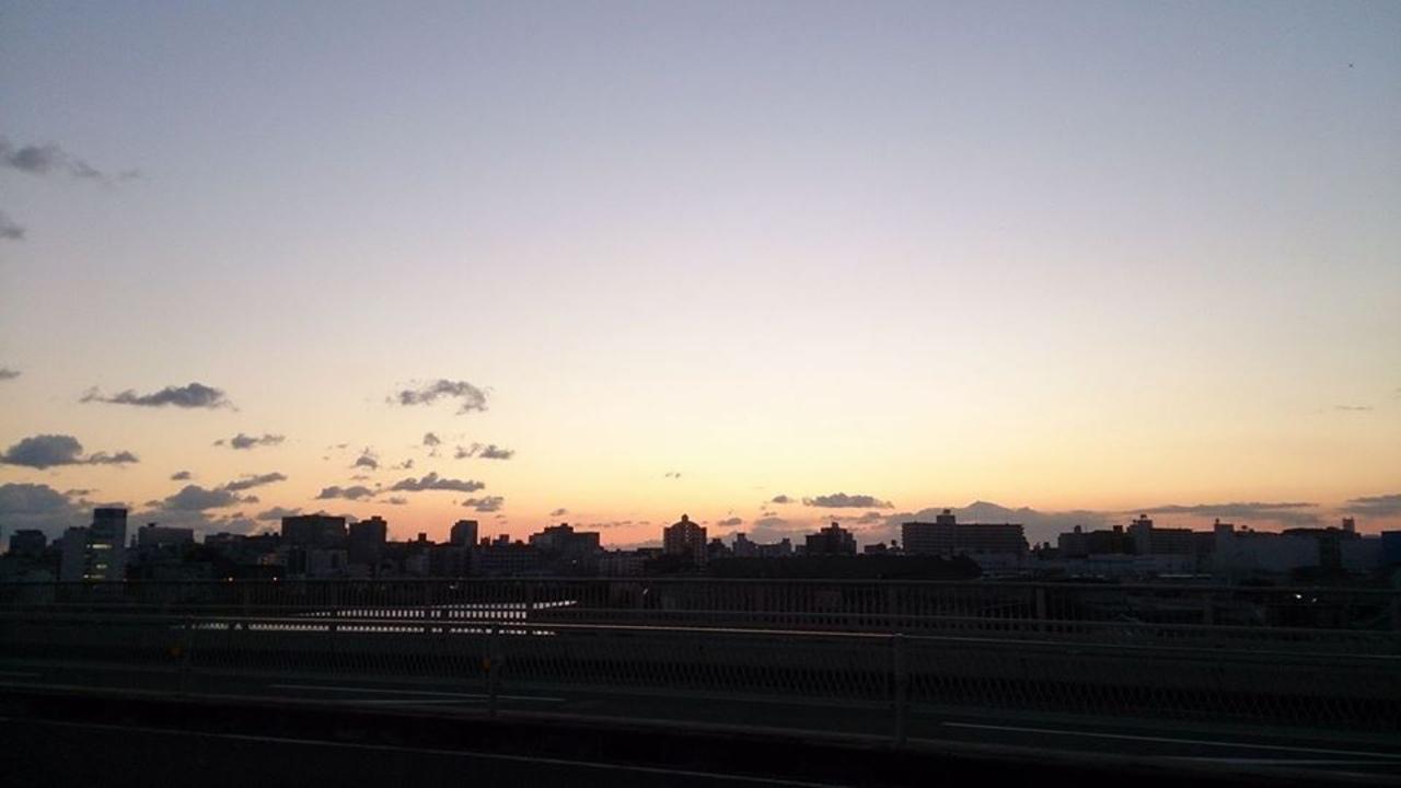 1月のとある日の下新庄周辺の夕暮れ