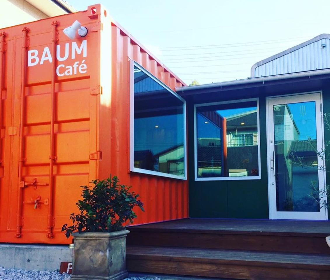 オレンジのコンテナハウスcafe...徳島の南小松島駅近くに『バームカフェ』オープン。