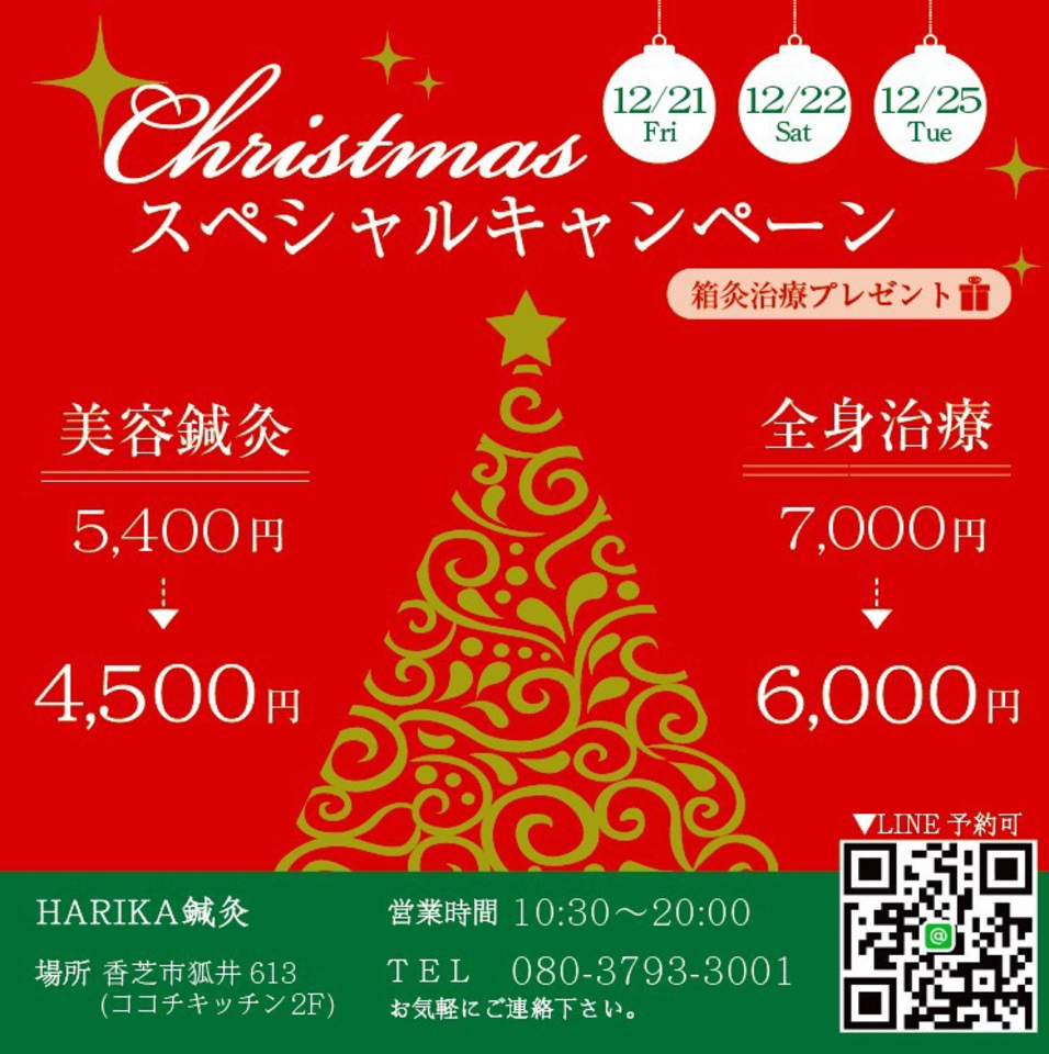 クリスマススペシャル価格で『美容鍼灸』が受けられます♪
