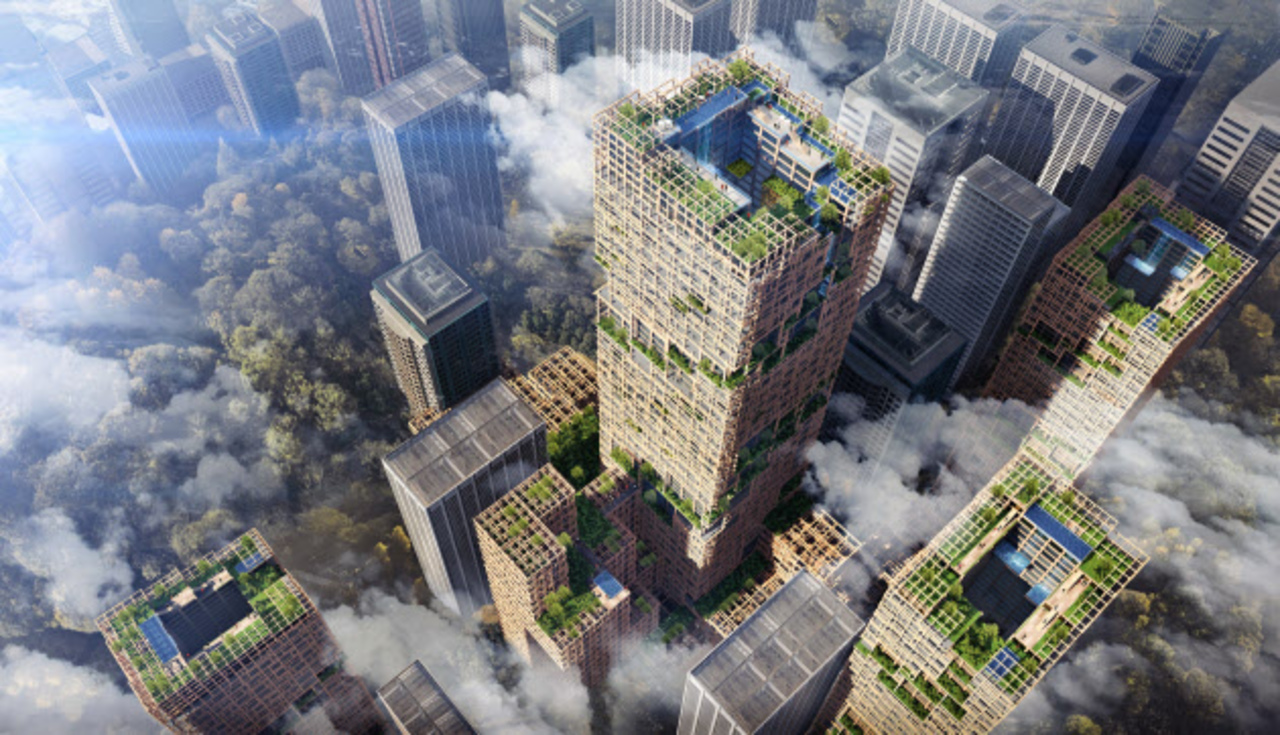 街を森にかえる、木造70階建て開発構想W350