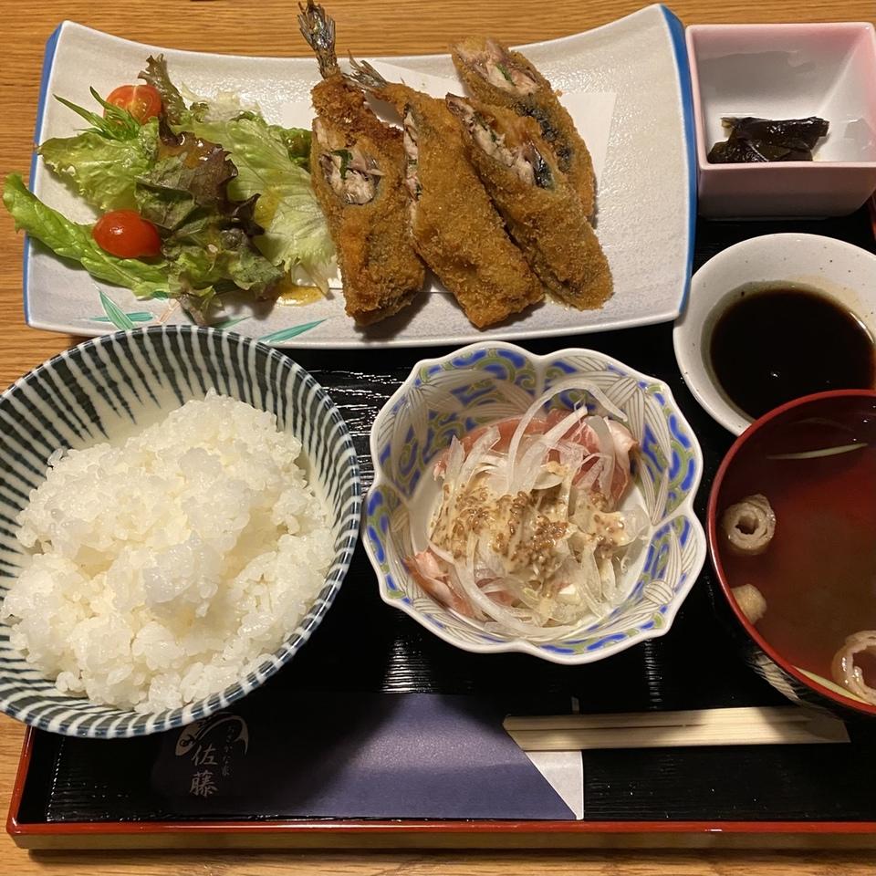 [栗東駅]おさかな家 佐藤 さんま大葉味噌フライ定食