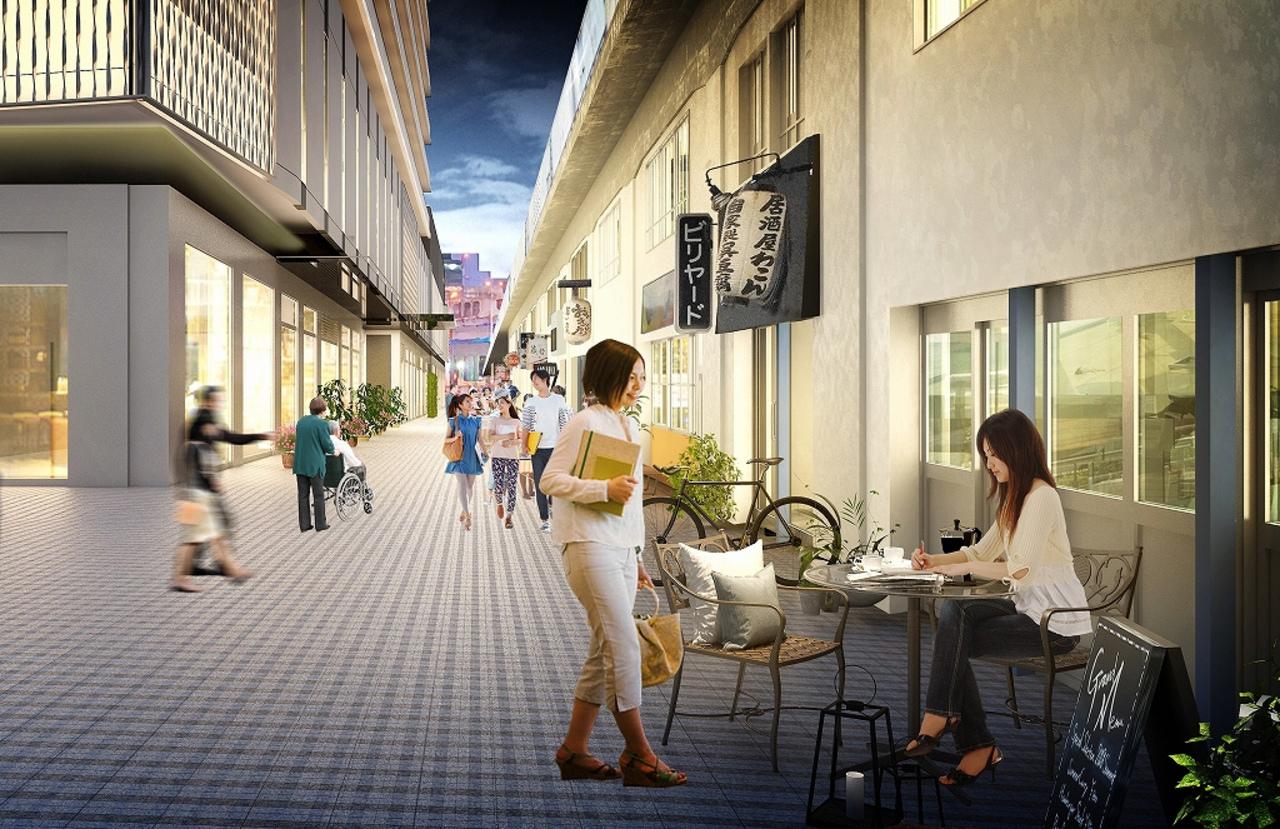 大阪福島のJR大阪環状線高架下と複合ビルの間に新名所「ふくまる通り57」本日通り開き!