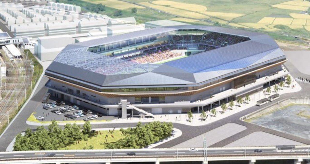 京都府亀岡市の亀岡駅近くに「サンガスタジアム by KYOCERA」が明日竣工を迎えるようです。