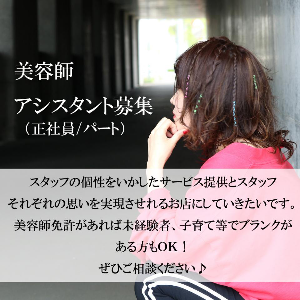 只今、アシスタント美容師募集中!!