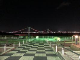 レインボーな明石海峡大橋の夜景を。。