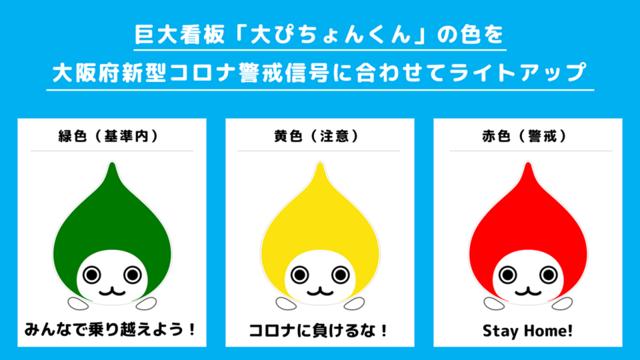 """<p>ダイキン工業は令和2年5月11日の日没より</p> <p>大阪・梅田の巨大な屋外LED看板「大ぴちょんくん」と新大阪駅前の屋外LED看板を使い</p> <p>大阪府新型コロナ警戒信号を示すライトアップを行っているようです。</p> <p>大阪モデルの達成状況を見える化、多くのみなさまに今の状況を知っていただくことで</p> <p>新型コロナウイルス感染症の収束に向けた一助になれば幸いです。とのことです。</p> <p>https://bit.ly/2Lm48bW</p> <div class=""""news_area is_type01""""> <div class=""""thumnail""""><a href=""""https://bit.ly/2Lm48bW""""> <div class=""""image""""><img src=""""https://scontent-nrt1-1.xx.fbcdn.net/v/t1.0-9/96379592_681771082395849_5353590762103635968_o.png?_nc_cat=106&_nc_sid=8024bb&_nc_oc=AQn5954yhNyQwUshSbwnzKb1XXLbv4ulSB9uQeN_v_zqx2_T4La-lAS9kR1JPelrfqI&_nc_ht=scontent-nrt1-1.xx&oh=a9b07390680df1a58c853009b3da3705&oe=5EDF374B"""" /></div> <div class=""""text""""> <h3 class=""""sitetitle"""">DAIKIN Japan / ダイキン工業</h3> <p class=""""description"""">\""""大ぴちょんくん""""の色で「大阪モデル」の達成状況をお知らせ✨/ 大阪府は5月5日、新型コロナウイルス感染症の自粛要請・解除および対策の基本的な考え方として、感染拡大状況や陽性率、病床のひっ迫状況を指標とする「大阪モデル」を発表しました。 達成状況は「大阪府新型コロナ警戒信号」として、府のホームページでの表示だけでなく、通天閣や万博記念公園の太陽の塔で警戒信号のライトアップが行われます????  ...</p> </div> </a></div> </div> ()"""