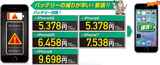 "<p>お使いのiPhoneのバッテリの減りが早くなったと思ったら、バッテリー交換がオススメです。<br />はんこ屋さん21上野店では、バッテリー交換が最短1時間です。</p> <ul class=""itemlist-m""> <li>iPhoneSE : 税込5,378円(税別4,980円)</li> <li>iPhone6  : 税込5,378円(税別4,980円)</li> <li>iPhone6S : 税込6,458円(税別5,980円)</li> <li>iPhone7  : 税込7,538円(税別6,980円)</li> <li>iPhone8  : 税込9,698円(税別8,980円)</li> </ul><div class=""thumnail post_thumb""><a href=""""><h3 class=""sitetitle""></h3><p class=""description""></p></a></div> ()"