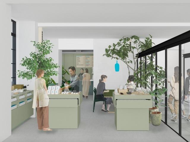 """<p>元立誠小学校の校舎を保全・再生した既存棟とデザインを調和させた新築棟で構成</p> <p>される7月21日開業予定の新複合施設 立誠ガーデンヒューリック京都内に</p> <p>「ブルーボトルコーヒー京都木屋町カフェ」7月23日オープン!</p> <p>様々な""""緑""""をカフェ全体に散りばめた、落ち着きのある空間が誕生する。。</p> ()"""